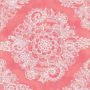 White Floral Moroccan on Coral Pink - horizontal