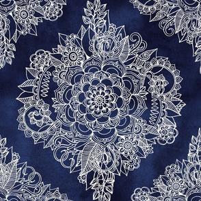 Cream Floral Moroccan Doodle on Deep Indigo Ink