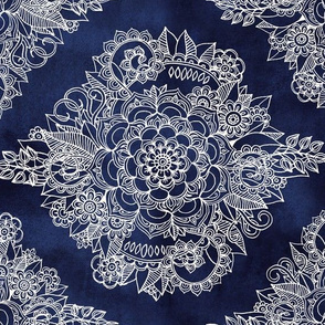 Cream Floral Moroccan on Navy - horizontal