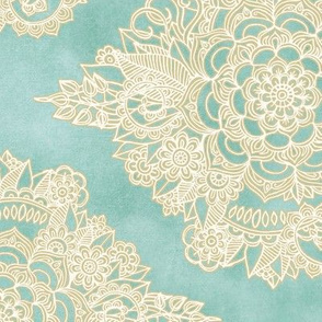 Cream Floral Moroccan on Light Teal - horizontal