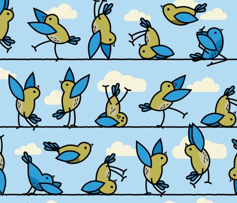Yoga for the Birds fabric by mariafaithgarcia on Spoonflower - custom fabric