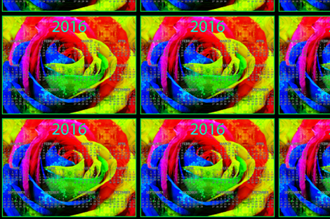 2016 Calendars - Rainbow Rose fabric by dovetail_designs on Spoonflower - custom fabric