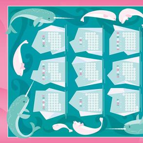 2017 Arctic Narwhals Tea Towel