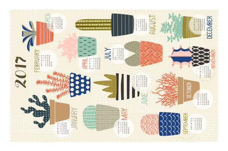 Succulents 2017 Tea Towel Calendar fabric by nadiahassan on Spoonflower - custom fabric