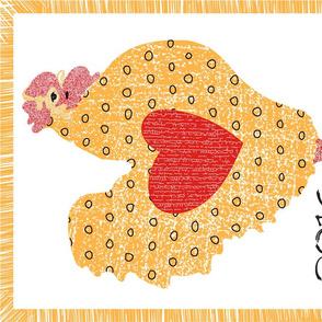 Folksy Chicken Tea Towel Fabric