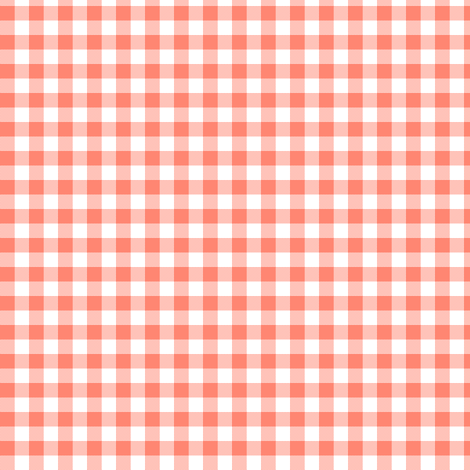 Coral and white gingham fabric weavingmajor spoonflower for Gingham fabric