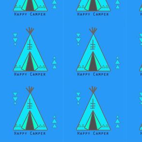 Happy Camper (blue on blue)