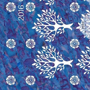 CAL2016 Virtual-Batik - blues and mauves -look at swatch to see hand-dye texture - white trees and flowers