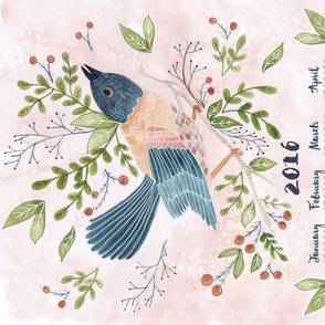 2016 Tea Towel Bird on a Branch