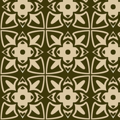 Gothic Squares in Green and Tan