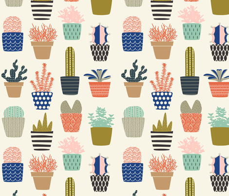Succulent Collection fabric by nadiahassan on Spoonflower - custom fabric