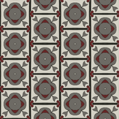 Gothic Floral Tiles in Gray and Crimson