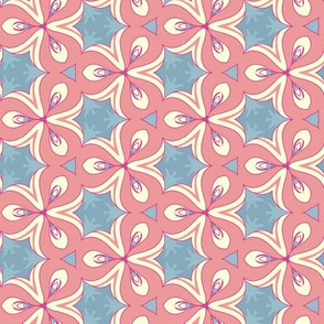 Pink and White Flowers on Blue