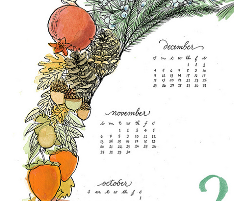 2016 Wreath Tea Towel Calendar
