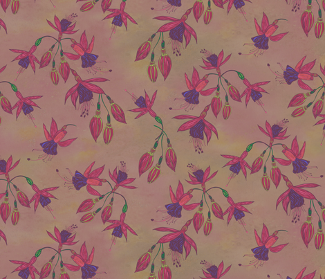 Fabulously Fuchsias (Natural) (Larger Scale) fabric by lottibrown on Spoonflower - custom fabric