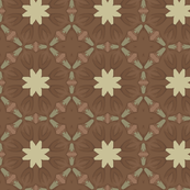 Stylized Flowers in Brown and Green