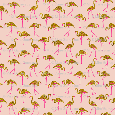 gold glitter flamingos with pink legs - blush