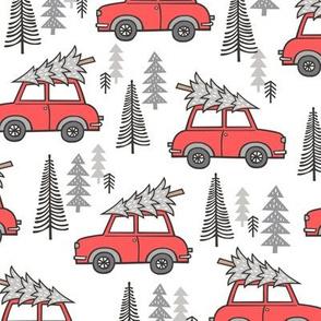 Holiday Christmas Grey Tree Red Car Woodland Fall