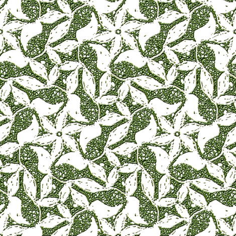 White Silhouette Vine on Green Cobweb fabric by eclectic_house on Spoonflower - custom fabric