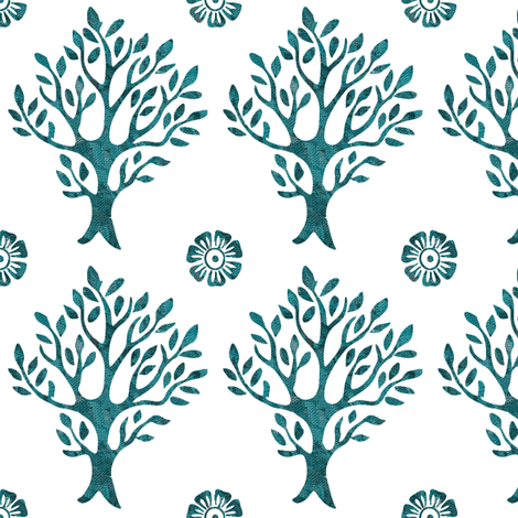 white-tree-stamp-VECTOR-w-corner-flwrs-FULLSIZE4in-150-lgdpforestgrnbatiktree-white fabric by mina on Spoonflower - custom fabric