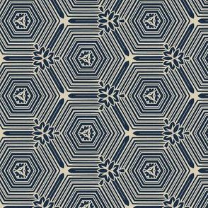 Bullseye Hexagons in Blue and White