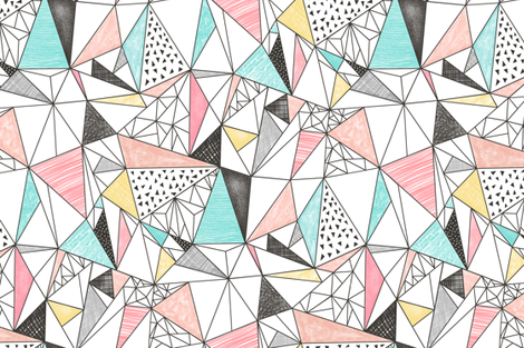 Triangles with Watercolor & Pencil fabric by caja_design on Spoonflower - custom fabric