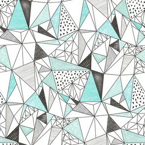 Triangles with Watercolor & Pencil Mint Grey