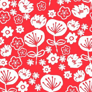 florals // red love valentines day flowers in hand-drawn illustration pattern