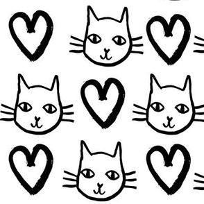cat love // black and white valentines love hearts