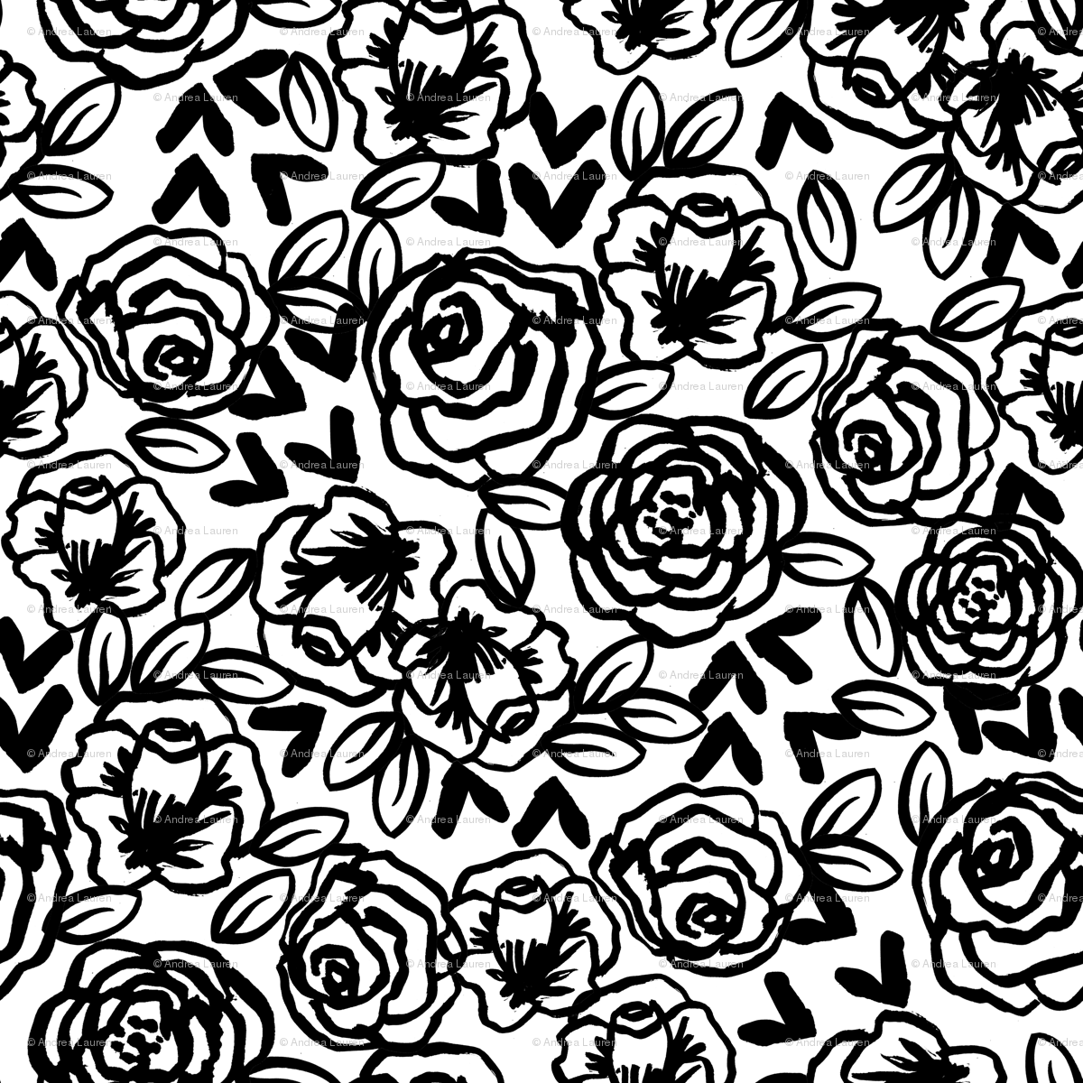 Roses Black And White Florals Flower Design For Illustration