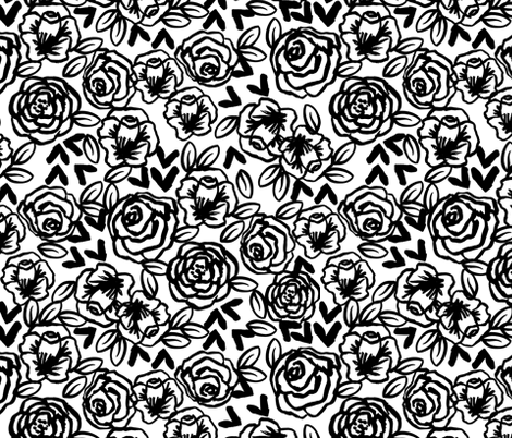 Roses black and white florals flower design for illustration pattern print fabric by andrea lauren