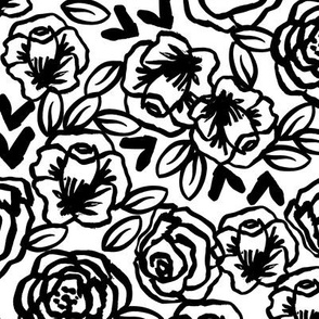 Roses Black And White Florals Flower Design For Illustration Pattern Print