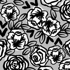 roses // black and white on grey floral flowers design