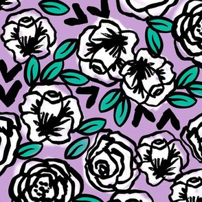 roses // lilac purple flowers floral repeat print for little girls fashion prints and decor
