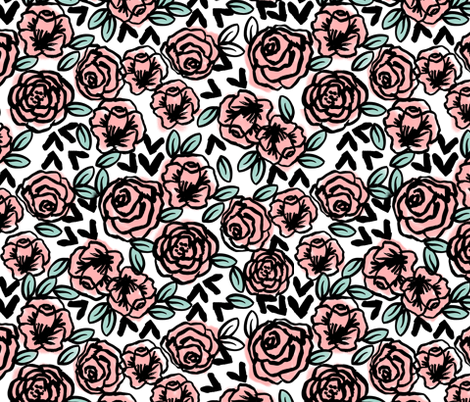 roses fabric  // pink on white sweet little vintage hand-drawn illustration pattern fabric by andrea_lauren on Spoonflower - custom fabric