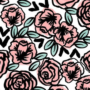 roses // pink on white sweet little vintage hand-drawn illustration pattern