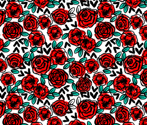 roses // fashion illustration print for girls fabric by andrea_lauren on Spoonflower - custom fabric