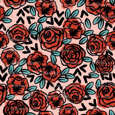 roses // red vintage style illustration florals flower pattern