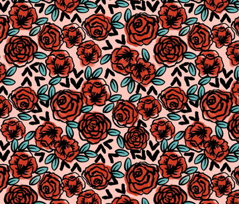 roses // red vintage style illustration florals flower pattern fabric by andrea_lauren on Spoonflower - custom fabric