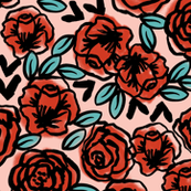 roses // red vintage style illustration florals flower pattern