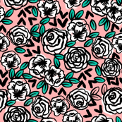 roses // white on pink love florals flower design