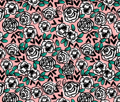 roses // white on pink love florals flower design fabric by andrea_lauren on Spoonflower - custom fabric