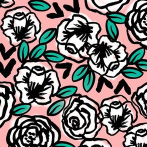 roses // white on pink love florals flower design