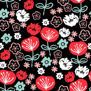 florals // black mint and pink flower repeating design for fashion print
