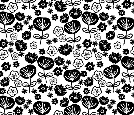 florals // black and white flower design in hand-drawn illustration repeating pattern for textiles fabric by andrea_lauren on Spoonflower - custom fabric