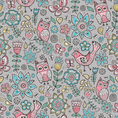 owl birds butterfly&flower on Grey