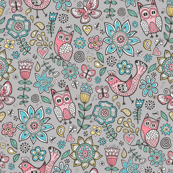 owl birds butterfly&flower on Grey