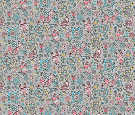owl birds butterfly&flower on Grey fabric by caja_design on Spoonflower - custom fabric