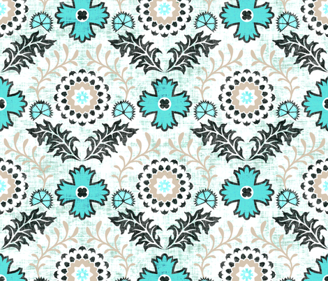 farm_brocade_turquoise fabric by holli_zollinger on Spoonflower - custom fabric