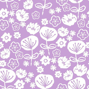 florals // purple pastel flowers design for illustration pattern and home decor textiles
